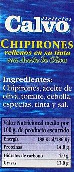 Calvo Chipirón en su Tinta y Aceite de Oliva 72 Gramos Peso Escurrido