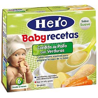 Hero Baby Caldito de pollo con verduras Recetas pack 2x250 g estuche 500 g