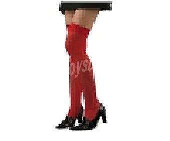 MY OTHER ME Complemento para disfraz Halloween, Medias de rejilla color rojo con liga 1 unidad