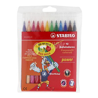 Stabilo Estuche 12 rotuladores power, tinta lavable