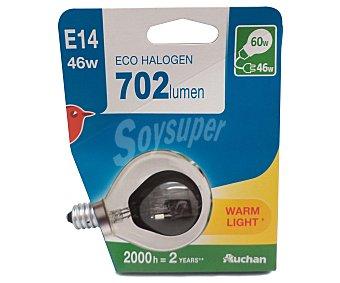 Auchan Bombilla ecohalógena esférica 46W, E27, Luz cálida 1 Unidad