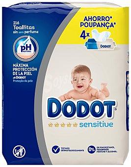 Dodot Toallitas de Bebé Dodot Sensitive Recambio 4 x 54 uds