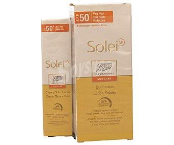 BOOTS Crema solar facial 50 ml y loción solar con factor protección 50+ (150 ml) 2 unidades
