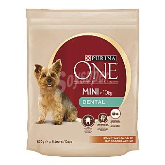 Purina One Dental mini pienso para perros adultos de raza mini - 10 kg rico en pollo con arroz para el cuidado dental Bolsa 800 g