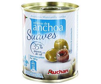 AUCHAN Aceitunas rellenas de anchoa Pack de 3 unidades de 50 gramos