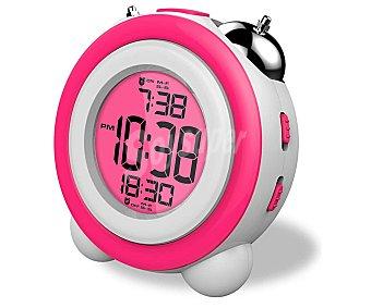 Daewoo Reloj despertador DDC-220BL con sintonizador de radio FM, 2 alarmas, rosa con sintonizador de radio FM, 2 alarmas, rosa