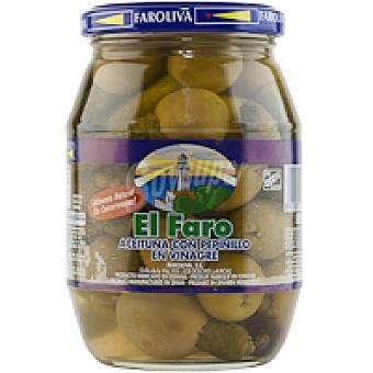 El Faro Aceitunas sabor manzanilla con pepinillo Frasco 350 g