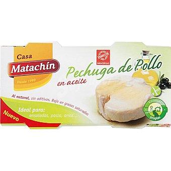CASA MATACHIN Pechuga de pollo en aceite neto escurrido Pack 2 latas 58 g