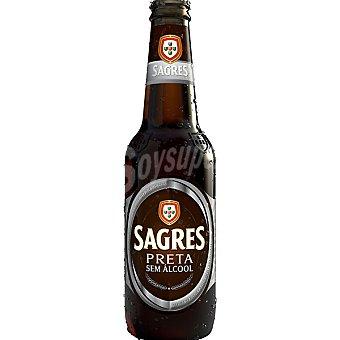 SAGRES Preta Cerveza negra sin alcohol portuguesa botella 33 cl Botella 33 cl