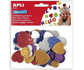 APLI Bolsa de 50 corazones adhesivos de goma eva con brillantina y de diferentes colores 1 unidad
