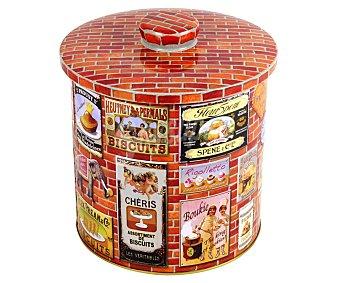 VIROJANGLOR Caja metálica hermética para galletas modelo Brique, diseño retro, 15,5x17 centímetros 1 Unidad
