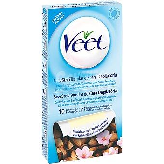 Veet Bandas de cera depilatoria con aceite de almendras y vitamina E para piel sensible + 2 toallitas para un acabado perfecto Caja 10 unidades