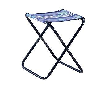 EREDU Taburete plegable para camping y playa. Fabricado en tubo redondo de acero y con asiento de lona multicolor Taburete plegable acero