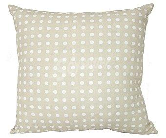 Auchan Cojín tejido panamá 100% algodón con fondo color beige y estampado topos color blanco, 45x45 centímetros 1 unidad