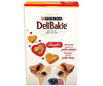 Purina Delibakie Galletas horneadas, doradas y crujientes, en forma de corazón, con sabor a pollo y vacuno Caja 320 g