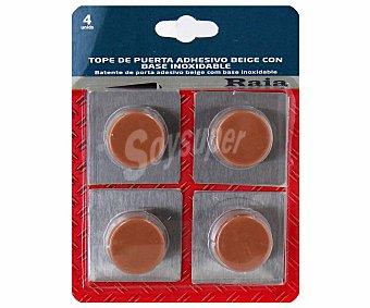 RAIA Topes Adhesivos de Color Beige y Base Inoxidable 4 Unidades