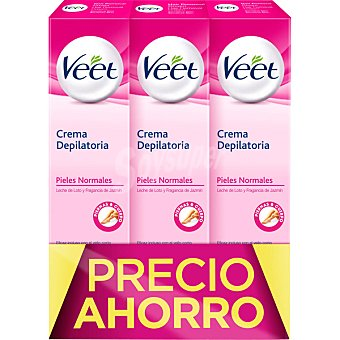 Veet Crema depilatoria con leche de loto y jazmín para piel normal pack 3 tubo 200 ml Pack 3 tubo 200 ml