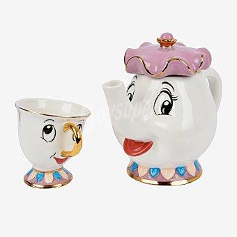 Disney Set de Tetera + Taza Redondo de Porcelana disney LA bella Y LA bestia 11,6x19,4cm - Decorado 1 ud