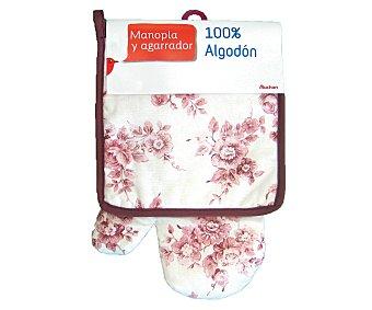 Auchan Conjunto de algodón, manopla y agarrador de cocina estampado floral color rosa 1 Unidad