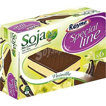 ROYNE Special Line Soja Sándwich helado de vainilla 6 unidades sin lactosa estuche 600 ml 6 unidades