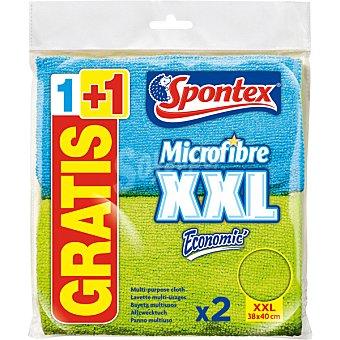 Spontex Bayeta Microfibre Economic multiusos difrentes colores 38x40 cm Paquete 1 unidad + 1 gratis