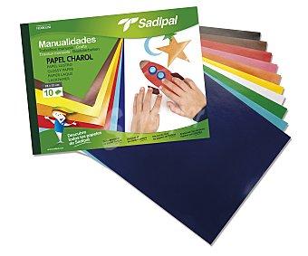 Sadipal Bloc de manualidades con 10 hojas de 32 x 24 centímetros, de papel de charol de diferentes colores 1 unidad