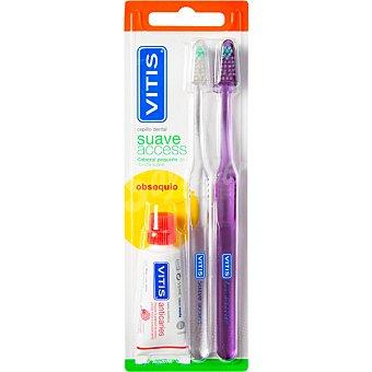 Vitis Cepillo dental suave access 2 unidades + regalo pasta dental 15ml 2 unidades