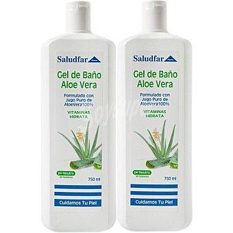 Saludfar Gel de baño de aloe vera apto para todo tipo de pieles y de uso frecuente ml pH Neutro Pack 750+750