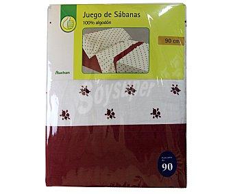 Productos Económicos Alcampo Juego de sábanas modelo Flor Liberty, color blanco y rojo, 170x90x30 centímetros 1 Unidad