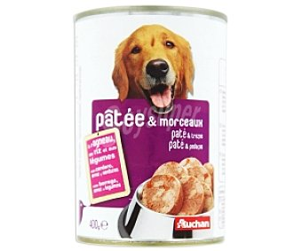 Auchan Comida Húmeda para Perro Paté Trozos de Cordero Lata de 400 Gramos