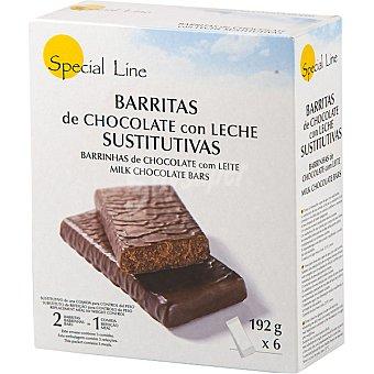 SPECIAL LINE barritas sustitutivas de chocolate con leche envase 192 g 6 unidades