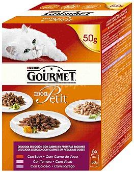 Gourmet Purina Comida para gatos selección de carnes mon petit  Pack 6 sobres de 50 g