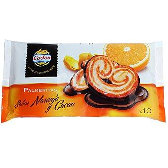 CODAN palmeritas sabor naranja y cacao  bandeja 150 g
