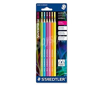 Staedtler Lote de 6 lápices de grafito, con cuerpo de colores neón y grosor de escritura del número 2 con dureza HB 1 unidad