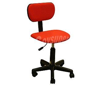 Productos Económicos Alcampo Silla de escritorio regulable, base de 5 ruedas pivotantes, fabricadas en Pvc, con asiento y respaldo acolchados de color rojo y medidas 55x57x85 1 unidad