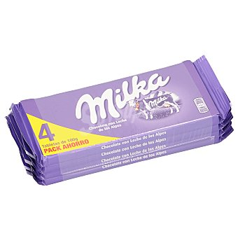 Milka Chocolate con leche Pack 4 tabletas x 100 g