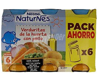 Naturnes Nestlé Tarritos de verduritas de la huerta con pollo Pack de 6 unidades de 250 gramos