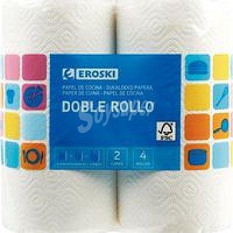 Eroski Papel de cocina dobles 4 rollos