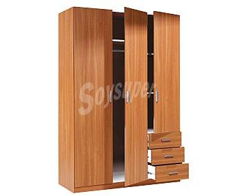 FORÉS Armario de 3 puertas y 3 cajones serie basic, color castaño, 180x121x52 centímetros 1 Unidad