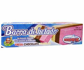 NORDWIK Bloque de helado de 3 sabores sin azúcares añadidos (contiene los azúcares naturalmente presentes) 1000 mililitros