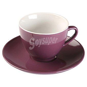 QUO Taza de te con plato en color morado 22 cl