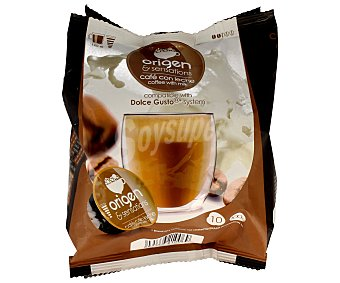 ORIGEN&SENSATIONS Café molido de tueste natural con leche en monodosis 10 unidades