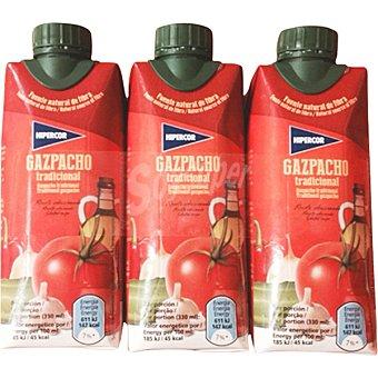 Hipercor Gazpacho tradicional pack 3 envase 330 ml Pack 3 envase 330 ml