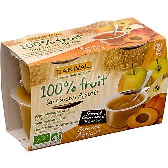Danival compota de manzana y albaricoque ecológica envase 440 g pack 4x110g