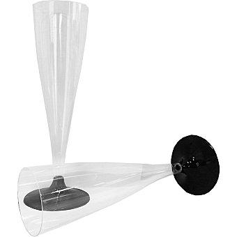Copa Flauta con pie negro Paquete 6 unidades