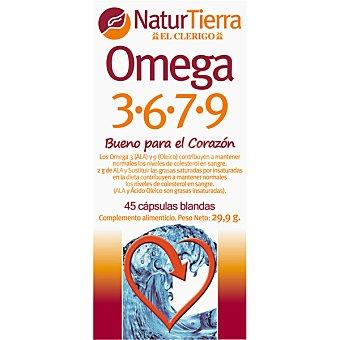 NaturTierra Omega 3 6 7 9 bueno para el corazón cápsulas blandas 45 cápsulas (envase 30 g)