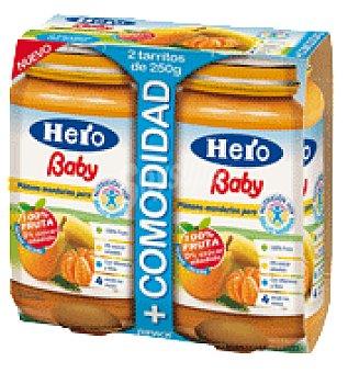 Hero Baby Tarritos de Plátano Mandarina y Pera Pack de 2x250 g