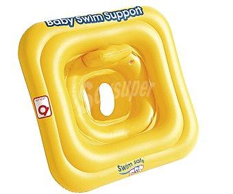 Kokido Flotador de seguridad con doble aro, con asiento Swim Safe primeros pasos con resplado incorporado, recomendado para niños de 1 a 2 años y medidas de 69x69 centímetros 1 unidad