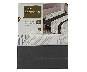 Auchan Juego de sábanas de 3 piezas para cama de 180 centímetros, color gris estampado hojas 1 unidad