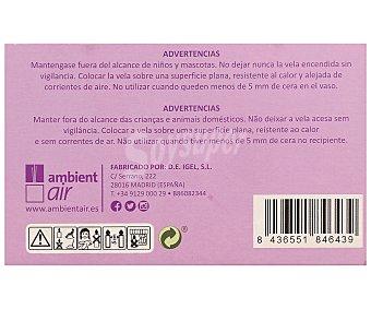 Ambient Air Velas de color malva en vasos de cristal, perfumadas con olor a lavanda y con medidas de 11 x 7 x 5.5 centímetros 1 unidad